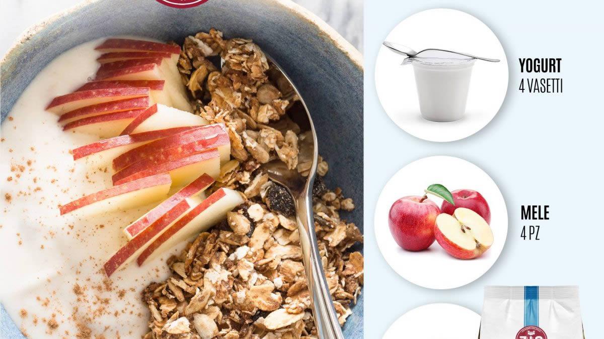 Insalata di mele allo yogurt con muesli e frutta secca