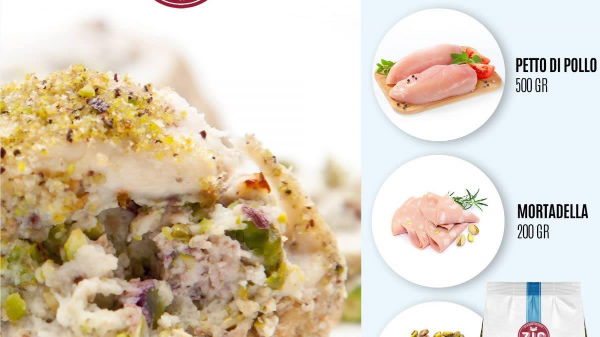 rotolo di pollo con mortadella e pistacchi