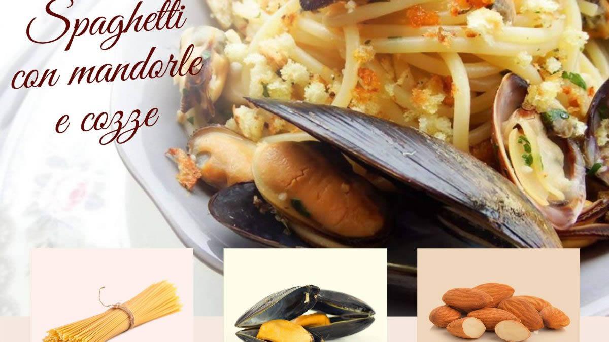 spaghetti con mandorle e cozze